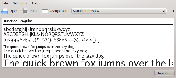 screenshot of the font viewer window